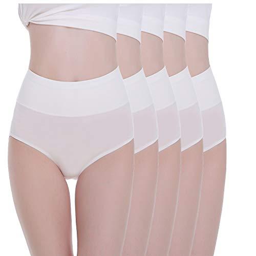 TUUHAW Braguita de Talle Alto Algodón para Mujer Pack de 5 Culotte Bragas de Cintura Alta Cómodo Talla Blanco M
