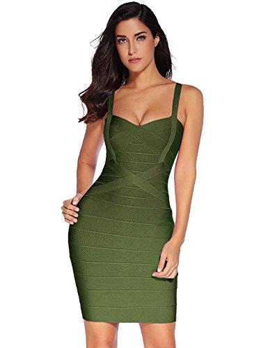 Meilun - Vestido ajustado de fiesta con tirantes para mujer - Verde - Medium