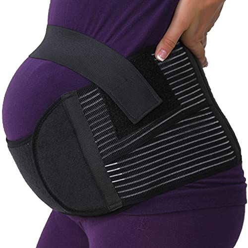 NEOtech Care Faja de Embarazo - Cinturón de Maternidad - premamá Banda para Abdomen/Cintura/Espalda, Apoyo para el Vientre - Marca (Negro, M)