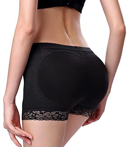 FEOYA - Mujer Bragas Push Up Moldeadoras con Relleno Cadera Briefs de Encaje Fajas Hip Up Desmontable Calzones Sexy sin Costura para Mujer - Negro - XL