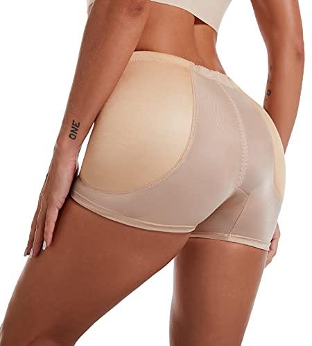 FEOYA - Mujer Bragas Braguitas Moldeadora con Relleno Cadera Briefs de Encaje Fajas Hip Up Lateral Calzones Sexy sin Costura para Mujer - Beige - XL