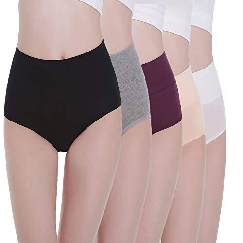 TUUHAW Braguita de Talle Alto Algodón para Mujer Pack de 5 Culotte Bragas de Cintura Alta Cómodo Talla Multicolor-1 XL