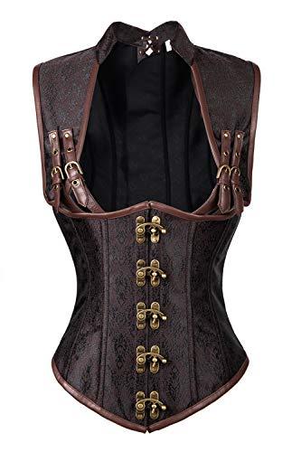 Charmian Women's Steampunk Steel Boned Gothic Vintage Brocade Underbust corsé Vest Plus Size Brown XXX-Large