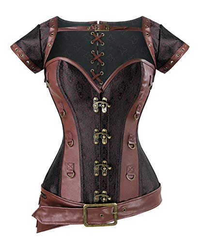 Charmian Women's Spiral Steel Boned Steampunk Retro Brocade and Leather Overbust corsé with Jacket and Belt Light-Brown XXXXX-Large