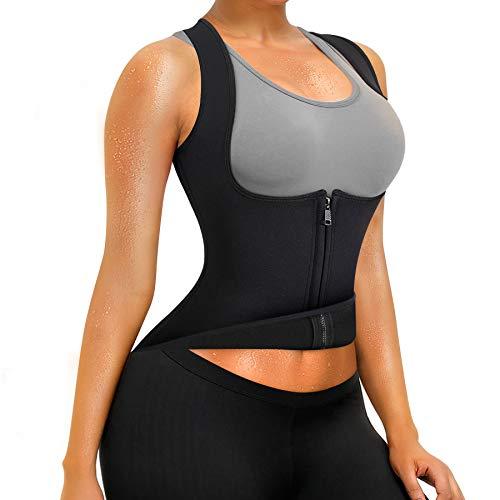 OctaveSpace Chaleco Suana Mujer Neopreno Sweat Vest para Sudoración Quema Grasa Faja Abdome Adelgazante (S, Camiseta Corsé)