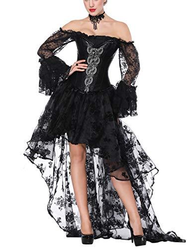 FeelinGirl Mujer Conjunto de Corsé Gótico Fiesta Corset Hueso Bustier con Falda Dos Piezas Carnaval Steampunk Corset Disfraz Sexy Vestido Negro S/Talla 38