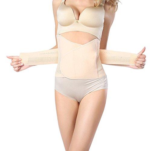 FEOYA - Faja Reductora Adelgazante para Mujer con Velcro para Postparto Faja Abdominal Elástica Moldeadora Transpirable Shapewear - Color de Piel - ES 42-44