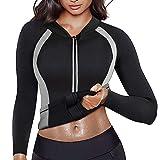 LaLaAreal Fajas Neopreno Sudor Camiseta Mujer Sauna Reducer Compression Suit Ejercicio Chaqueta Reductora Adelgazante Pérdida de Peso para Deporte Fitness Entrenamiento de Cintura