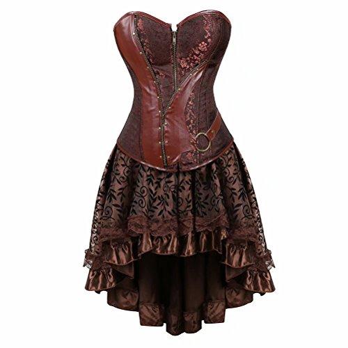 jutrisujo Steampunk Corset Cuero Gothic corsés Vestidos Falda dresbustiers Halloween Disfraces Sexy Mujer Marrón M