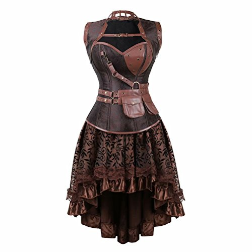 jutrisujo Steampunk corsebustiers Cuero corsés Vestido Falda Cool Warrior diseño de la Mujer Brocado Vintage Sexy Pirata Marrón XL