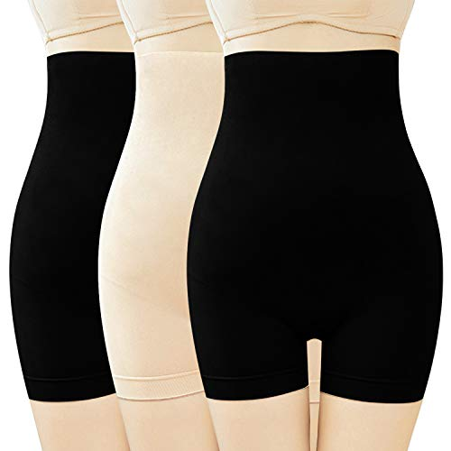 Libella 3 Unidades Mujer Pantalon Moldeador Pantys Faja para Mujer Sin Costuras Braguitas Reductoras Adelgazantes Shapewear 3615 Negro+Negro+Beige XL/2XL