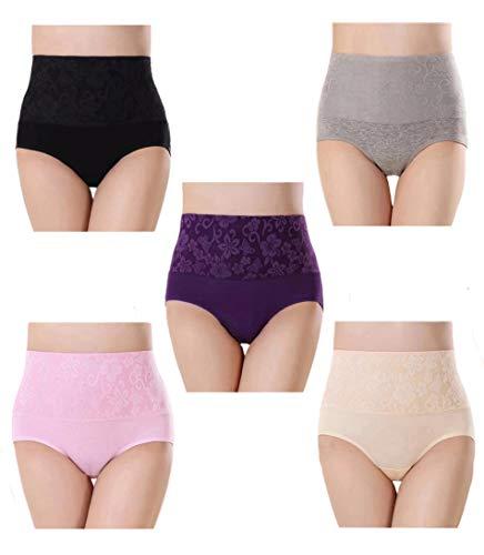 Misolin Bragas Talle Alto Algodón para Mujer Cómodo elástico Bragas Pantalones de Mujer Multicolor Pack de 5 Tag 3XL