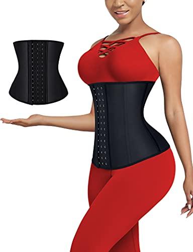 FeelinGirl Body Faja Reductora Mujer 9 Aceros Deshuesados Látex Corsé de Entrenamiento Transpirable Faja Lumbar con Ganchos Negro Cintura 82-88cm(XXL/Talla 44)
