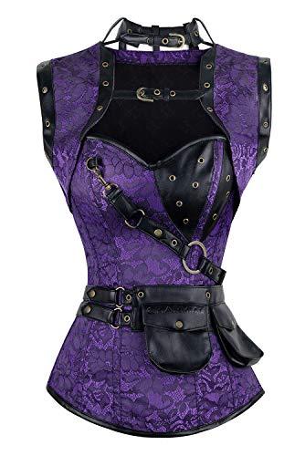 Charmian, corsé retro de mujer, con ballenas de acero en espiral, estilo vintage, retrofuturista. - Púrpura -