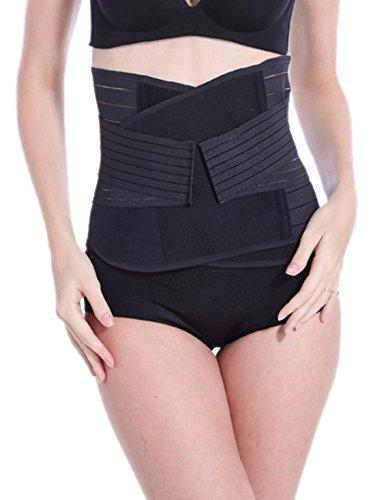 Feoya Negra Faja Postparto Reductora Cintura Moldeadora con Velcro Transpirable Elástico Cinturón para Mujer y Maternidad Recuperación Posnatal - Talla M