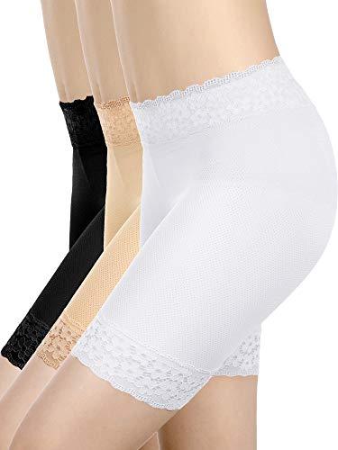 3 Piezas Pantalones Cortos de Encaje Ropa Interior Pantalones Cortos de Yoga Estiramiento Seguridad Leggings Calzoncillos para Mujeres Chicas (Set 1, M - L Tamaño)