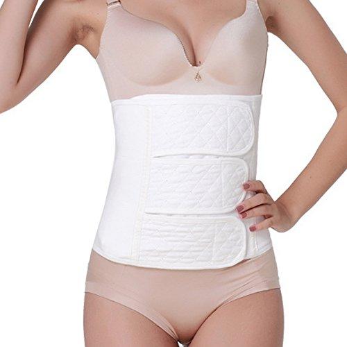 Feoya Mujeres Faja Postparto Reductora Cintura Moldeadora con Velcro Transpirable Elástica Recuperar Abdomen - Blanco Talla XL
