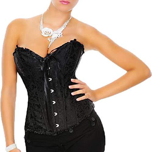 Yummy Bee - Corsé Mujer Vintage Brocado Marfil - Corset Mujer Gótico Negro Disfraz - Lencería de Novia - Talla Grande (Negro,52)