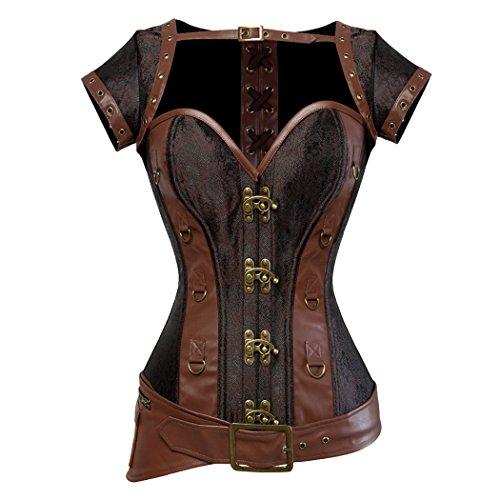 Rosfajiama Cool Warrior diseño de la Mujer Acero Deshuesada Brocado Vintage Steampunk Bustiers corsés Medium marrón
