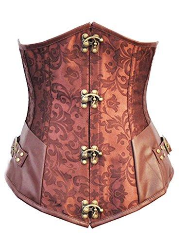 Rosfajiama Moda Corsé Corpiño Negro Top Gothic Steampunk Vintage D Saco lavandería XX-Large marrón