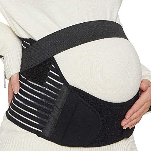 NEOtech Care Cinturón de Maternidad - Apoyo Durante el Embarazo - Banda para Abdomen/Cintura/Espalda, Faja de premamá para el Vientre - Marca (Negro, L)